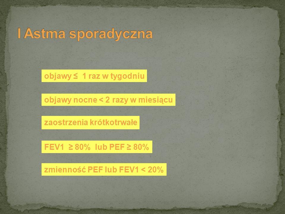 objawy ≤ 1 raz w tygodniu zaostrzenia krótkotrwałe objawy nocne < 2 razy w miesiącu FEV1 ≥ 80% lub PEF ≥ 80% zmienność PEF lub FEV1 < 20%