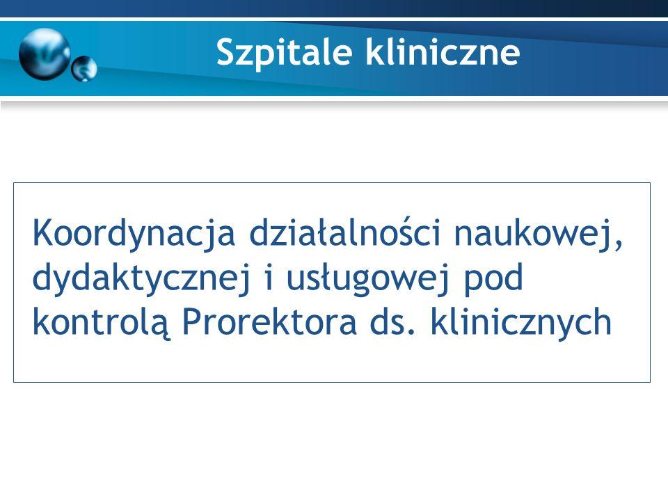 Szpitale kliniczne Koordynacja działalności naukowej, dydaktycznej i usługowej pod kontrolą Prorektora ds.
