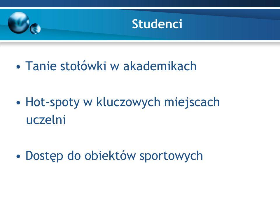 Studenci Tanie stołówki w akademikach Hot-spoty w kluczowych miejscach uczelni Dostęp do obiektów sportowych
