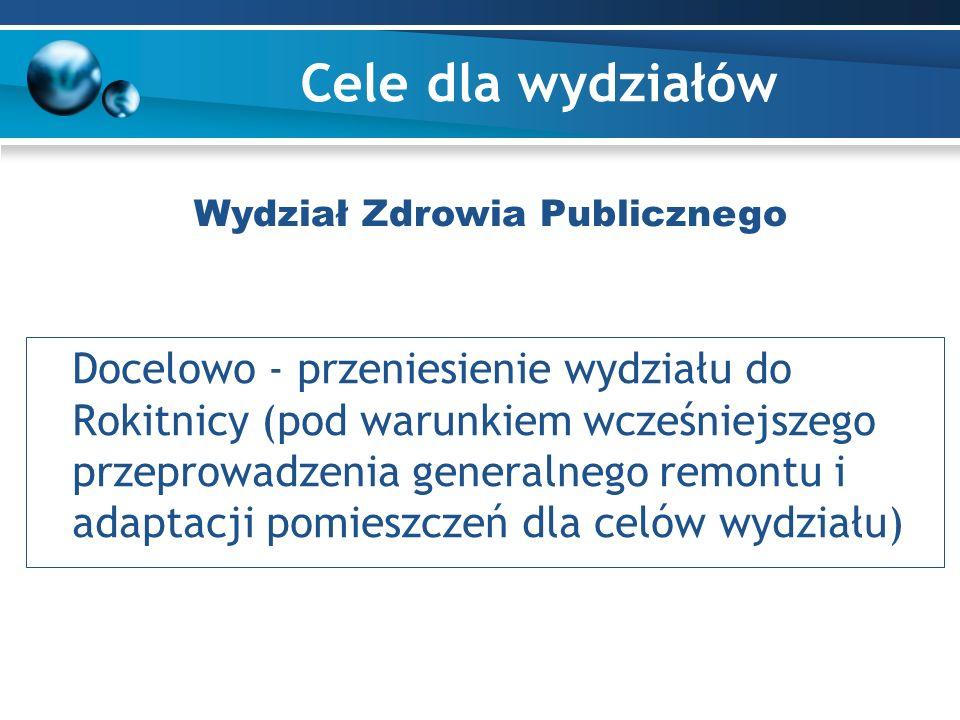 Cele dla wydziałów Docelowo - przeniesienie wydziału do Rokitnicy (pod warunkiem wcześniejszego przeprowadzenia generalnego remontu i adaptacji pomieszczeń dla celów wydziału) Wydział Zdrowia Publicznego