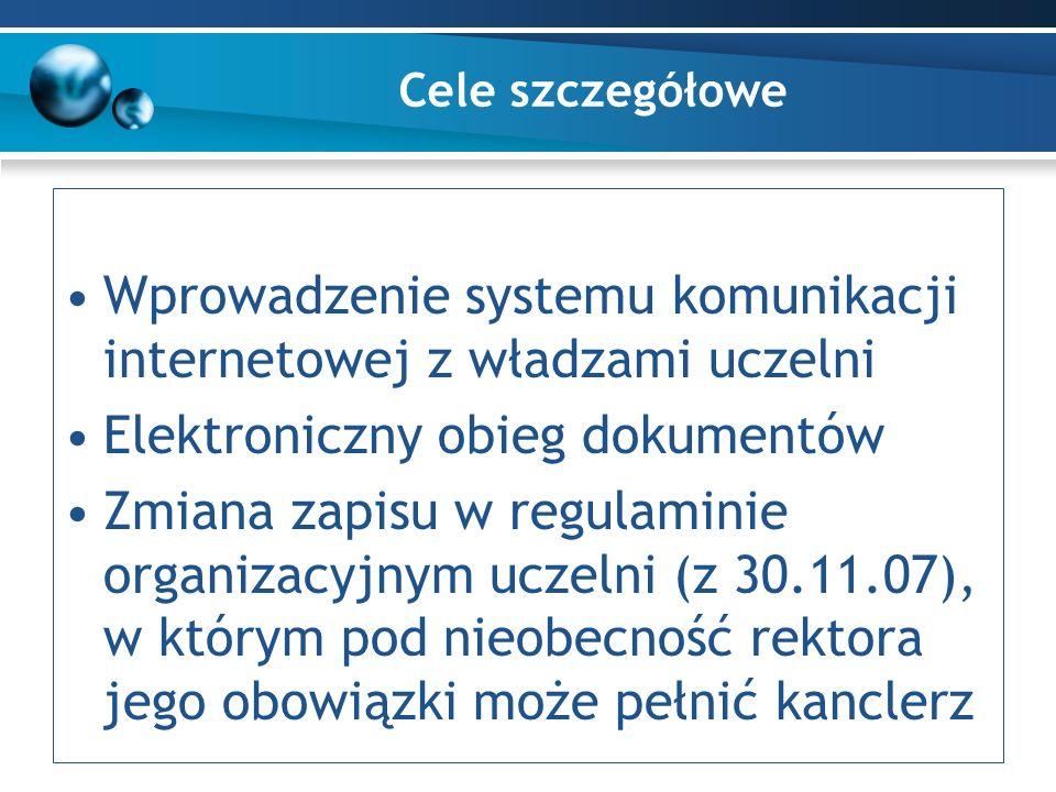 Cele szczegółowe Wprowadzenie systemu komunikacji internetowej z władzami uczelni Elektroniczny obieg dokumentów Zmiana zapisu w regulaminie organizacyjnym uczelni (z 30.11.07), w którym pod nieobecność rektora jego obowiązki może pełnić kanclerz