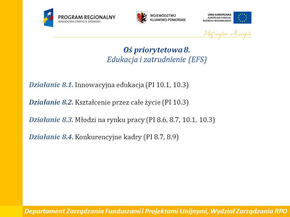 Departament Zarządzania Funduszami i Projektami Unijnymi, Wydział Zarządzania RPO Oś priorytetowa 8. Edukacja i zatrudnienie (EFS) Działanie 8.1. Inno