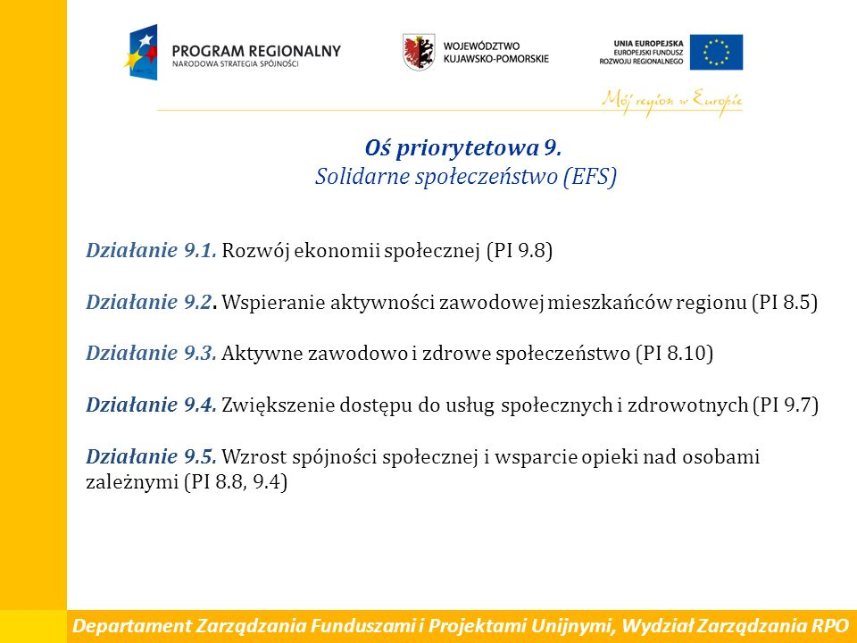Departament Zarządzania Funduszami i Projektami Unijnymi, Wydział Zarządzania RPO Oś priorytetowa 9. Solidarne społeczeństwo (EFS) Działanie 9.1. Rozw