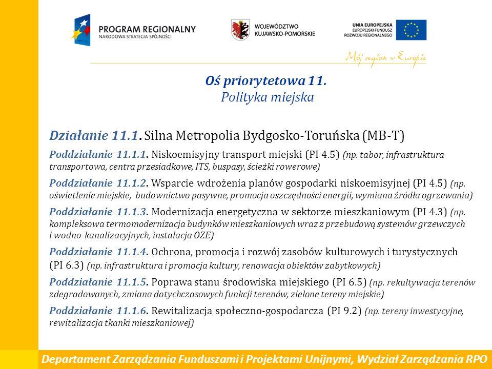 Departament Zarządzania Funduszami i Projektami Unijnymi, Wydział Zarządzania RPO Oś priorytetowa 11. Polityka miejska Działanie 11.1. Silna Metropoli