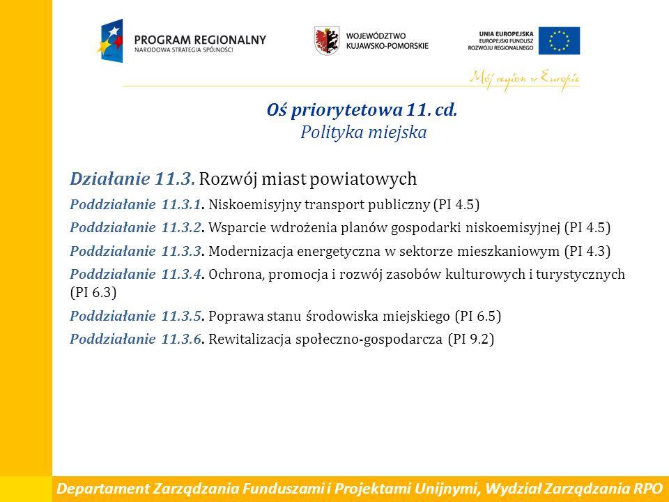 Departament Zarządzania Funduszami i Projektami Unijnymi, Wydział Zarządzania RPO Oś priorytetowa 11. cd. Polityka miejska Działanie 11.3. Rozwój mias