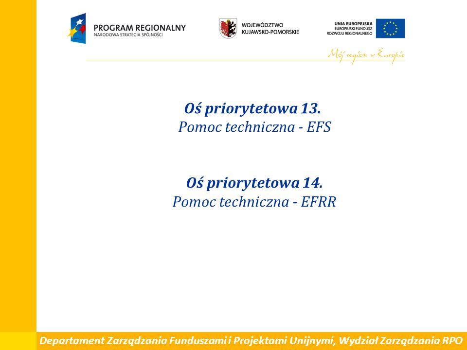Departament Zarządzania Funduszami i Projektami Unijnymi, Wydział Zarządzania RPO Oś priorytetowa 13. Pomoc techniczna - EFS Oś priorytetowa 14. Pomoc