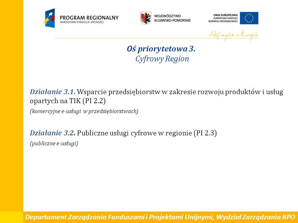 Departament Zarządzania Funduszami i Projektami Unijnymi, Wydział Zarządzania RPO Oś priorytetowa 3. Cyfrowy Region Działanie 3.1. Wsparcie przedsiębi
