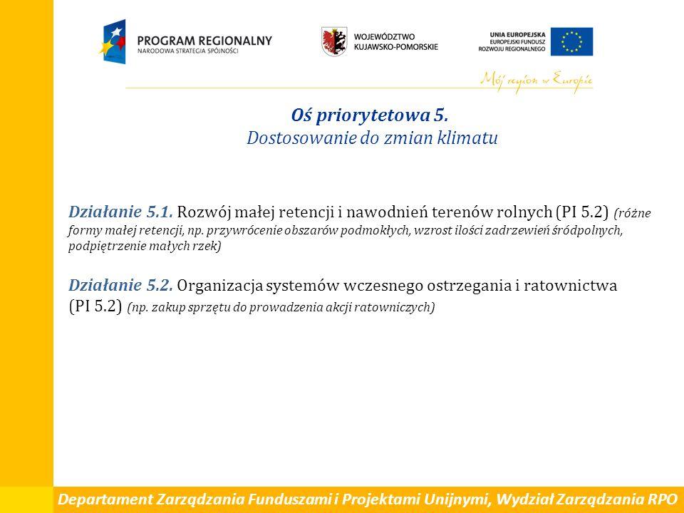 Departament Zarządzania Funduszami i Projektami Unijnymi, Wydział Zarządzania RPO Oś priorytetowa 5. Dostosowanie do zmian klimatu Działanie 5.1. Rozw