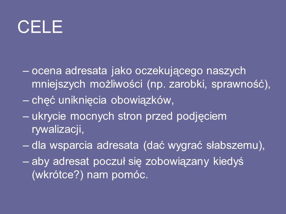 CELE –ocena adresata jako oczekującego naszych mniejszych możliwości (np.