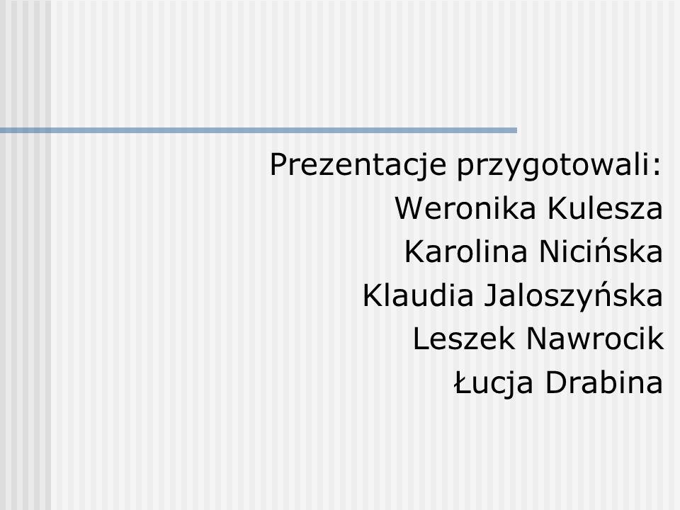 Prezentacje przygotowali: Weronika Kulesza Karolina Nicińska Klaudia Jaloszyńska Leszek Nawrocik Łucja Drabina