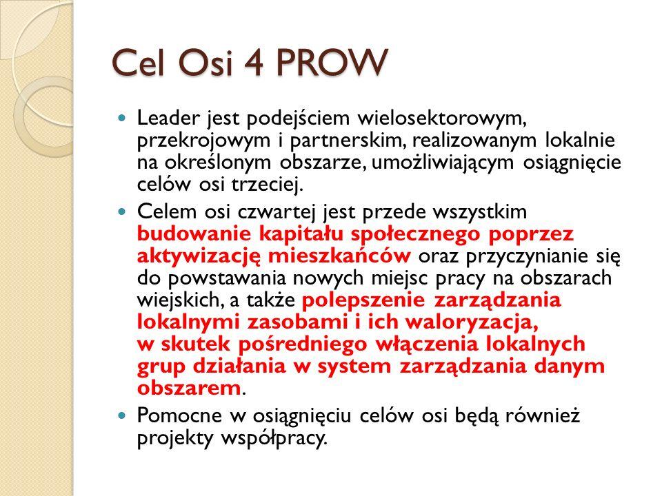 Cel Osi 4 PROW Leader jest podejściem wielosektorowym, przekrojowym i partnerskim, realizowanym lokalnie na określonym obszarze, umożliwiającym osiągnięcie celów osi trzeciej.