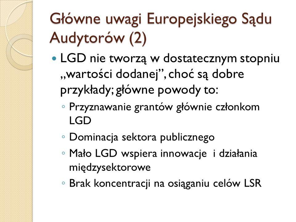 """Główne uwagi Europejskiego Sądu Audytorów (2) LGD nie tworzą w dostatecznym stopniu """"wartości dodanej , choć są dobre przykłady; główne powody to: ◦ Przyznawanie grantów głównie członkom LGD ◦ Dominacja sektora publicznego ◦ Mało LGD wspiera innowacje i działania międzysektorowe ◦ Brak koncentracji na osiąganiu celów LSR"""
