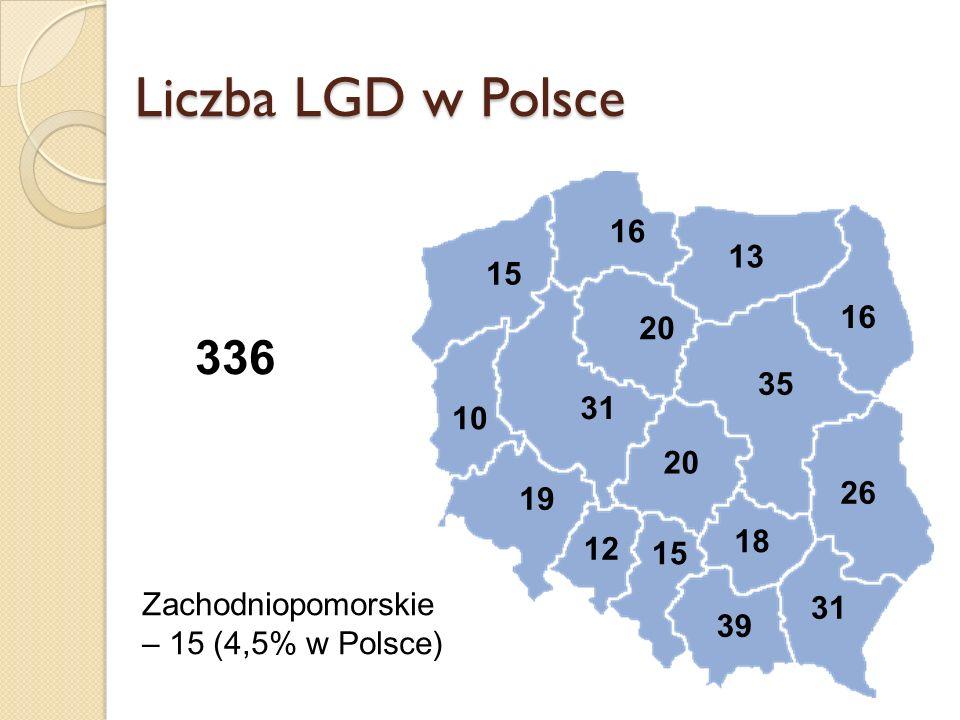 Liczba LGD w Polsce 12 19 20 39 31 35 31 10 26 20 18 16 15 13 15 336 Zachodniopomorskie – 15 (4,5% w Polsce)