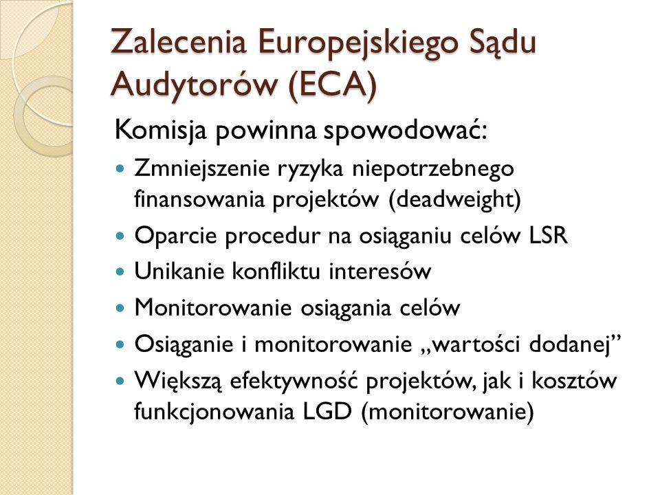 """Zalecenia Europejskiego Sądu Audytorów (ECA) Komisja powinna spowodować: Zmniejszenie ryzyka niepotrzebnego finansowania projektów (deadweight) Oparcie procedur na osiąganiu celów LSR Unikanie konfliktu interesów Monitorowanie osiągania celów Osiąganie i monitorowanie """"wartości dodanej Większą efektywność projektów, jak i kosztów funkcjonowania LGD (monitorowanie)"""