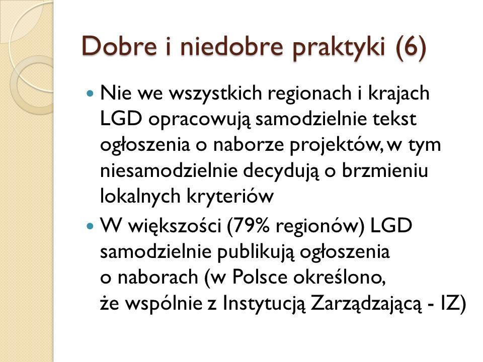 Dobre i niedobre praktyki (6) Nie we wszystkich regionach i krajach LGD opracowują samodzielnie tekst ogłoszenia o naborze projektów, w tym niesamodzielnie decydują o brzmieniu lokalnych kryteriów W większości (79% regionów) LGD samodzielnie publikują ogłoszenia o naborach (w Polsce określono, że wspólnie z Instytucją Zarządzającą - IZ)