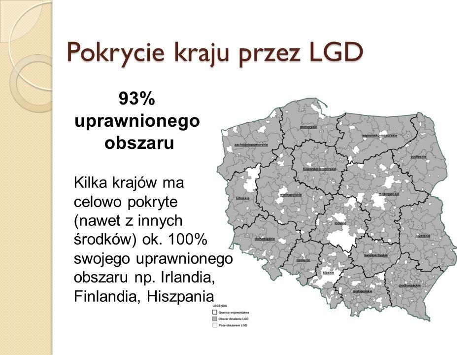 Pokrycie kraju przez LGD 93% uprawnionego obszaru Kilka krajów ma celowo pokryte (nawet z innych środków) ok.