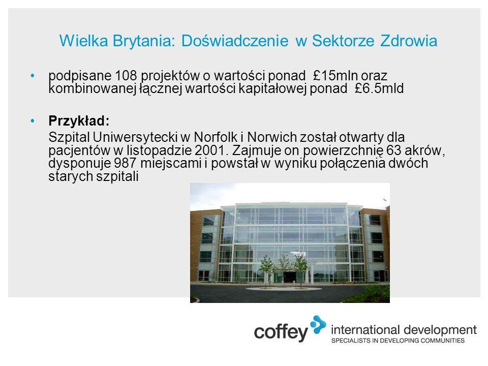 podpisane 108 projektów o wartości ponad £15mln oraz kombinowanej łącznej wartości kapitałowej ponad £6.5mld Przykład: Szpital Uniwersytecki w Norfolk i Norwich został otwarty dla pacjentów w listopadzie 2001.