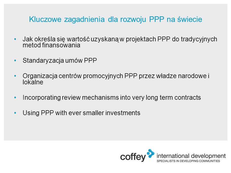 Kluczowe zagadnienia dla rozwoju PPP na świecie Jak określa się wartość uzyskaną w projektach PPP do tradycyjnych metod finansowania Standaryzacja umów PPP Organizacja centrów promocyjnych PPP przez władze narodowe i lokalne Incorporating review mechanisms into very long term contracts Using PPP with ever smaller investments