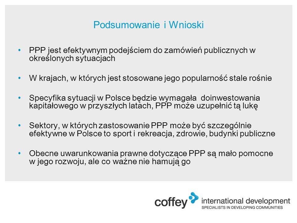 Podsumowanie i Wnioski PPP jest efektywnym podejściem do zamówień publicznych w określonych sytuacjach W krajach, w których jest stosowane jego popularność stale rośnie Specyfika sytuacji w Polsce będzie wymagała doinwestowania kapitałowego w przyszłych latach, PPP może uzupełnić tą lukę Sektory, w których zastosowanie PPP może być szczególnie efektywne w Polsce to sport i rekreacja, zdrowie, budynki publiczne Obecne uwarunkowania prawne dotyczące PPP są mało pomocne w jego rozwoju, ale co ważne nie hamują go