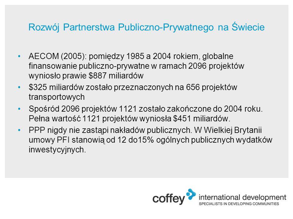 Rozwój Partnerstwa Publiczno-Prywatnego na Świecie AECOM (2005): pomiędzy 1985 a 2004 rokiem, globalne finansowanie publiczno-prywatne w ramach 2096 projektów wyniosło prawie $887 miliardów $325 miliardów zostało przeznaczonych na 656 projektów transportowych Spośród 2096 projektów 1121 zostało zakończone do 2004 roku.