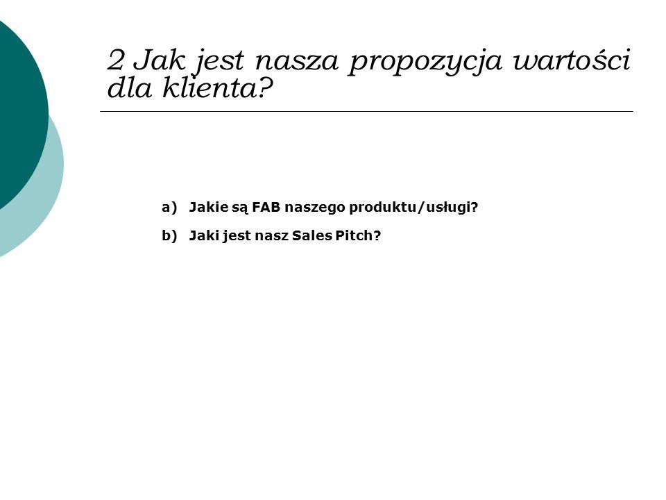 2 Jak jest nasza propozycja wartości dla klienta? a)Jakie są FAB naszego produktu/usługi? b)Jaki jest nasz Sales Pitch?