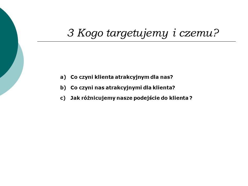 3 Kogo targetujemy i czemu? a)Co czyni klienta atrakcyjnym dla nas? b)Co czyni nas atrakcyjnymi dla klienta? c)Jak różnicujemy nasze podejście do klie