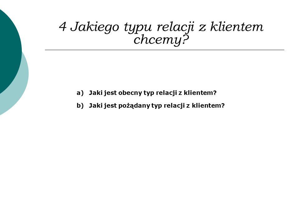 4 Jakiego typu relacji z klientem chcemy? a)Jaki jest obecny typ relacji z klientem? b)Jaki jest pożądany typ relacji z klientem?
