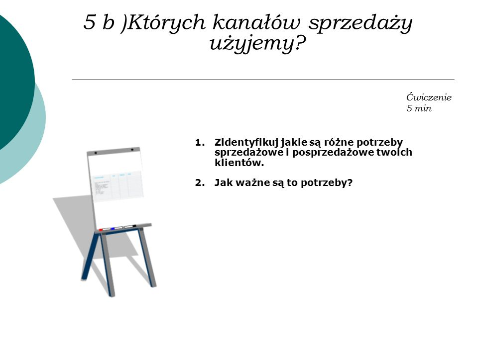 5 b )Których kanałów sprzedaży użyjemy? 1.Zidentyfikuj jakie są różne potrzeby sprzedażowe i posprzedażowe twoich klientów. 2.Jak ważne są to potrzeby