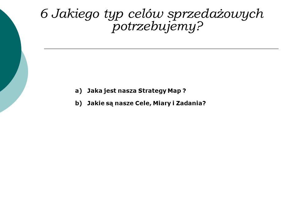 6 Jakiego typ celów sprzedażowych potrzebujemy? a)Jaka jest nasza Strategy Map ? b)Jakie są nasze Cele, Miary i Zadania?