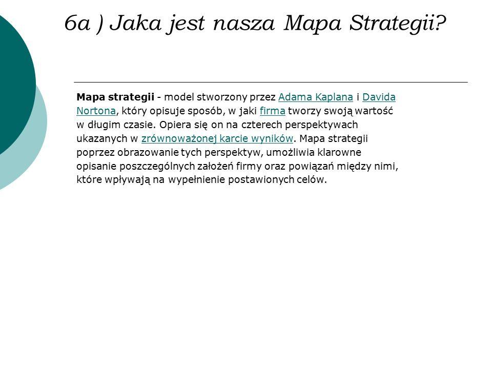 6a ) Jaka jest nasza Mapa Strategii? Mapa strategii - model stworzony przez Adama Kaplana i Davida Nortona, który opisuje sposób, w jaki firma tworzy