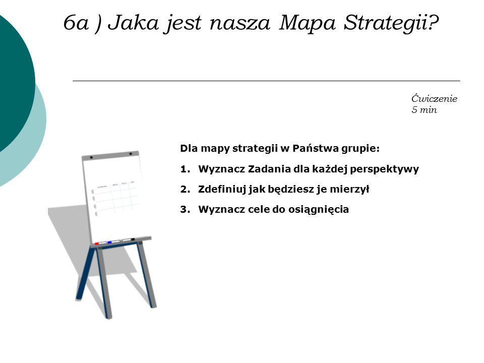 Dla mapy strategii w Państwa grupie: 1.Wyznacz Zadania dla każdej perspektywy 2.Zdefiniuj jak będziesz je mierzył 3.Wyznacz cele do osiągnięcia Ćwicze