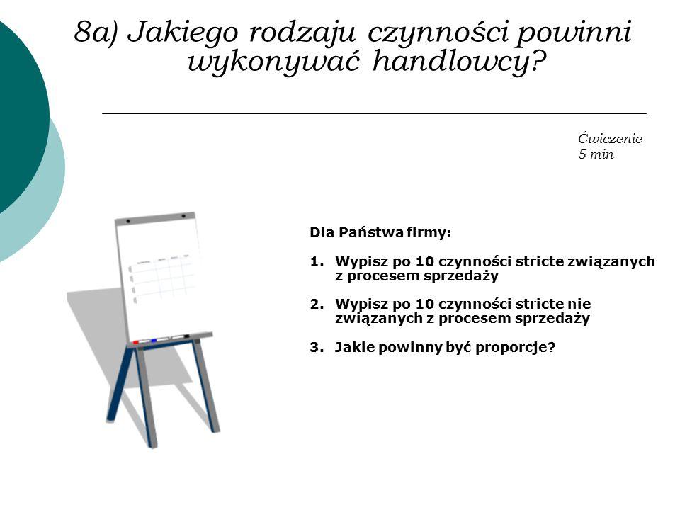 8a) Jakiego rodzaju czynności powinni wykonywać handlowcy? Dla Państwa firmy: 1.Wypisz po 10 czynności stricte związanych z procesem sprzedaży 2.Wypis
