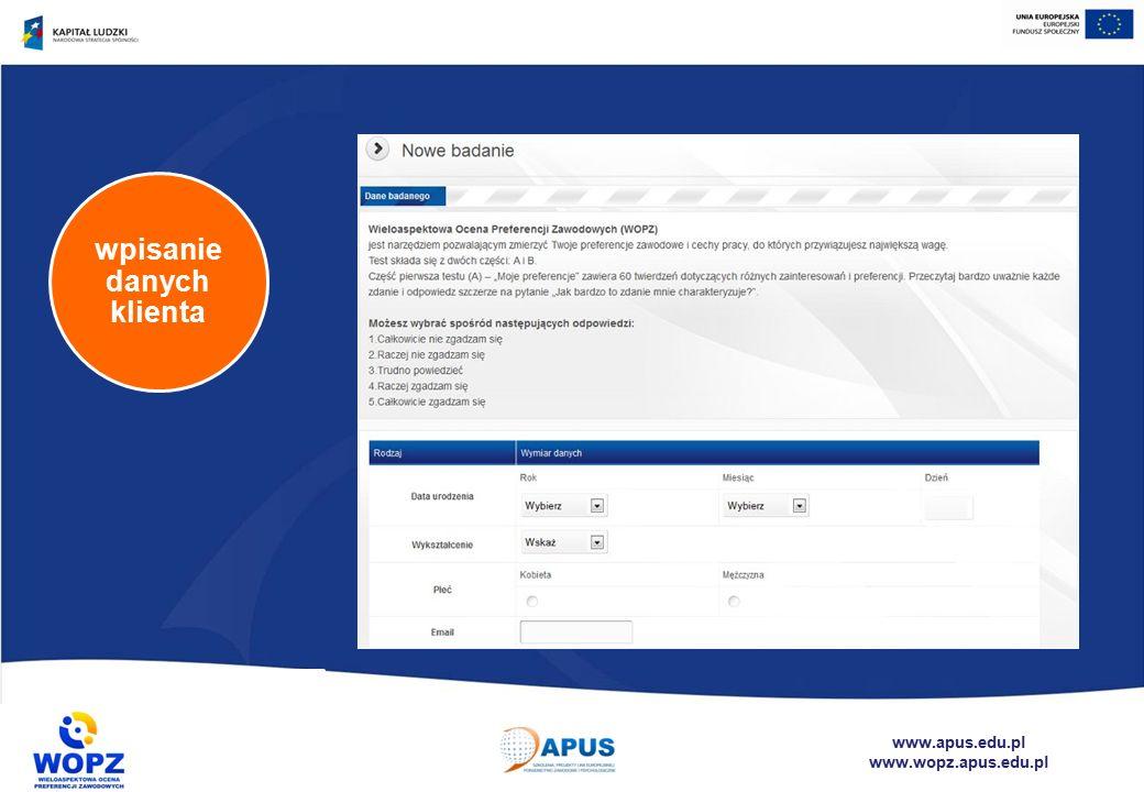 www.apus.edu.pl www.wopz.apus.edu.pl wpisanie danych klienta