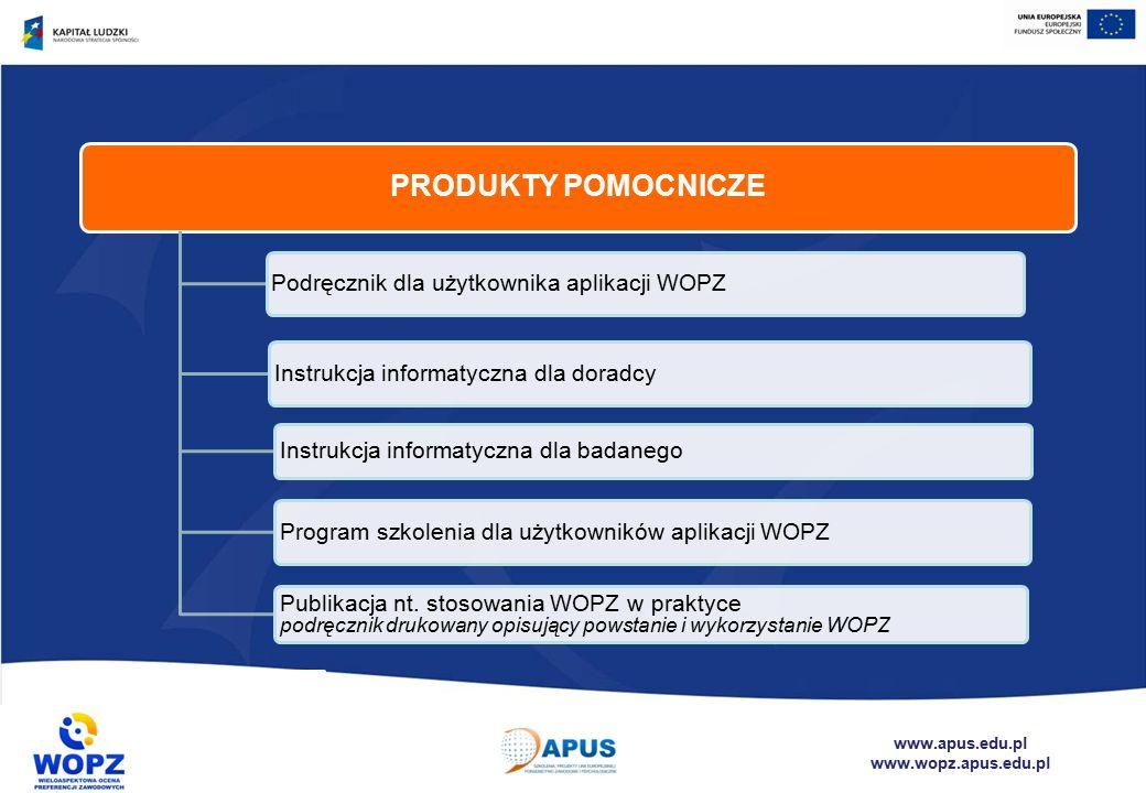 www.apus.edu.pl www.wopz.apus.edu.pl PRODUKTY POMOCNICZE Podręcznik dla użytkownika aplikacji WOPZ Instrukcja informatyczna dla doradcy Instrukcja informatyczna dla badanego Program szkolenia dla użytkowników aplikacji WOPZ Publikacja nt.