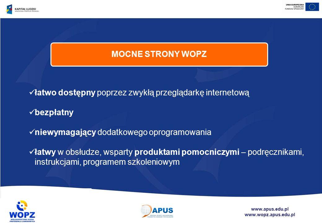 www.apus.edu.pl www.wopz.apus.edu.pl łatwo dostępny poprzez zwykłą przeglądarkę internetową bezpłatny niewymagający dodatkowego oprogramowania łatwy w obsłudze, wsparty produktami pomocniczymi – podręcznikami, instrukcjami, programem szkoleniowym MOCNE STRONY WOPZ