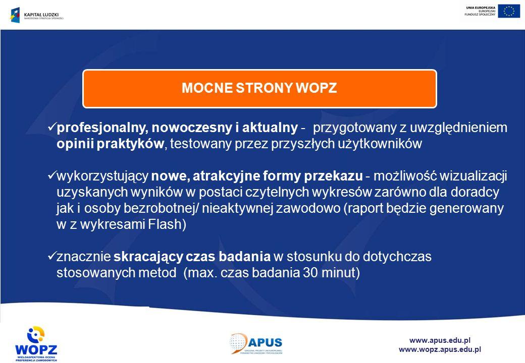 www.apus.edu.pl www.wopz.apus.edu.pl profesjonalny, nowoczesny i aktualny - przygotowany z uwzględnieniem opinii praktyków, testowany przez przyszłych użytkowników wykorzystujący nowe, atrakcyjne formy przekazu - możliwość wizualizacji uzyskanych wyników w postaci czytelnych wykresów zarówno dla doradcy jak i osoby bezrobotnej/ nieaktywnej zawodowo (raport będzie generowany w z wykresami Flash) znacznie skracający czas badania w stosunku do dotychczas stosowanych metod (max.