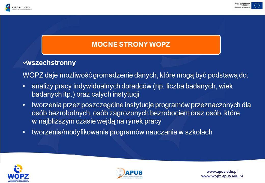 www.apus.edu.pl www.wopz.apus.edu.pl wszechstronny WOPZ daje możliwość gromadzenie danych, które mogą być podstawą do: analizy pracy indywidualnych doradców (np.