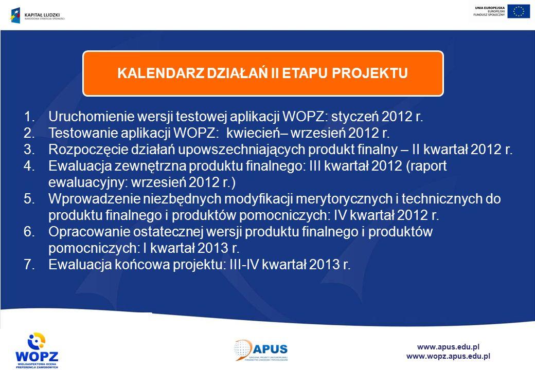 www.apus.edu.pl www.wopz.apus.edu.pl 1.Uruchomienie wersji testowej aplikacji WOPZ: styczeń 2012 r.