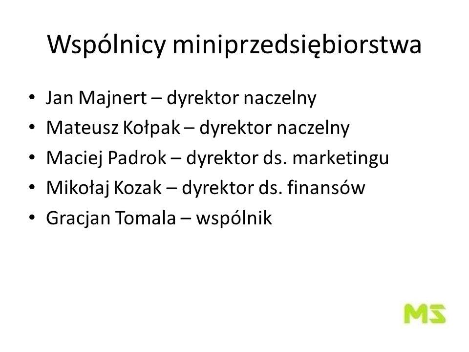 Wspólnicy miniprzedsiębiorstwa Jan Majnert – dyrektor naczelny Mateusz Kołpak – dyrektor naczelny Maciej Padrok – dyrektor ds.