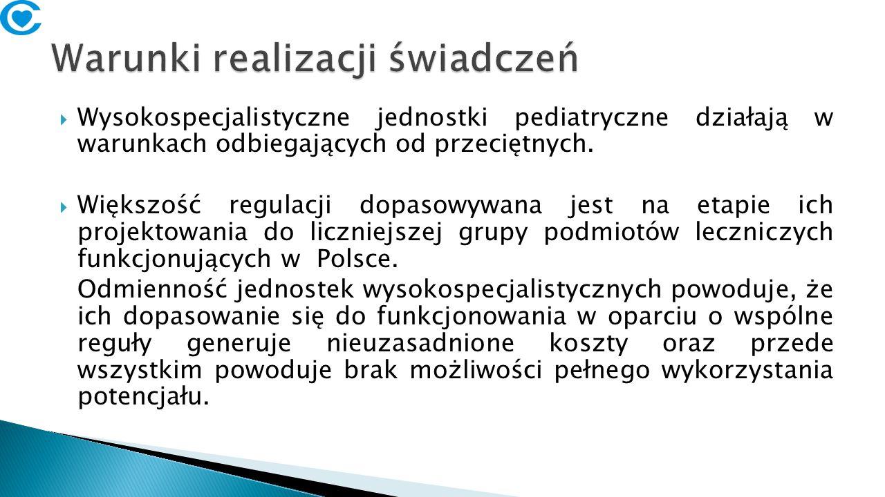  Wysokospecjalistyczne jednostki pediatryczne działają w warunkach odbiegających od przeciętnych.