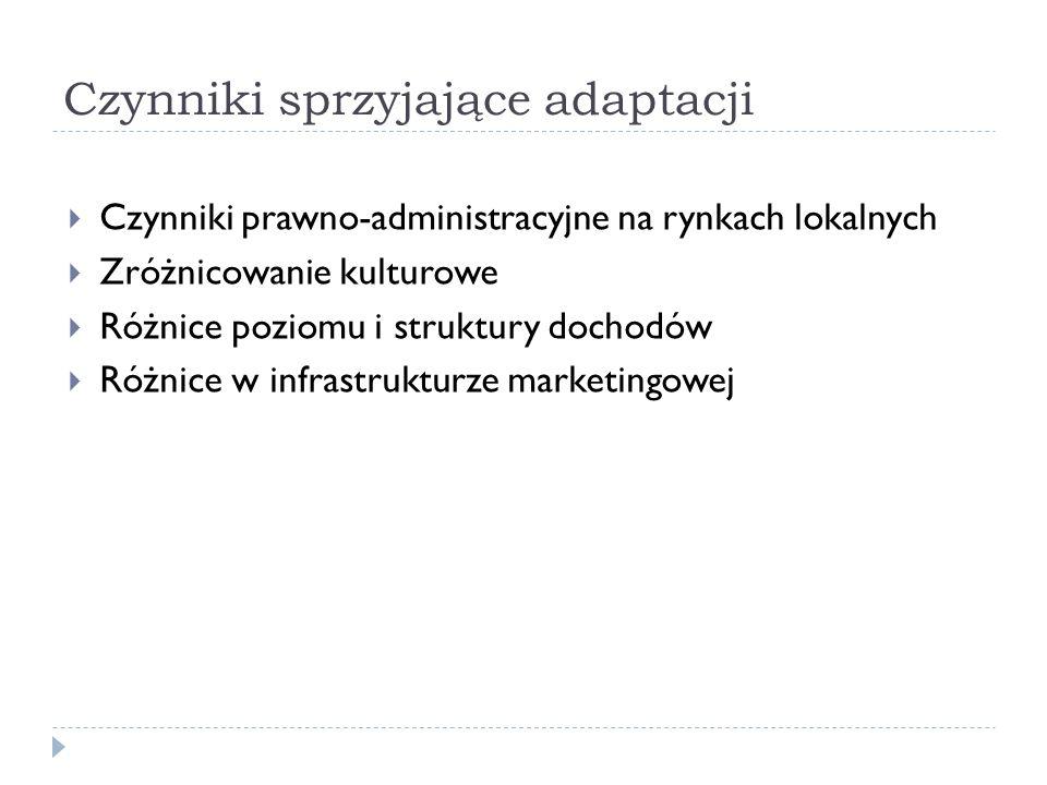 Czynniki sprzyjające adaptacji  Czynniki prawno-administracyjne na rynkach lokalnych  Zróżnicowanie kulturowe  Różnice poziomu i struktury dochodów  Różnice w infrastrukturze marketingowej