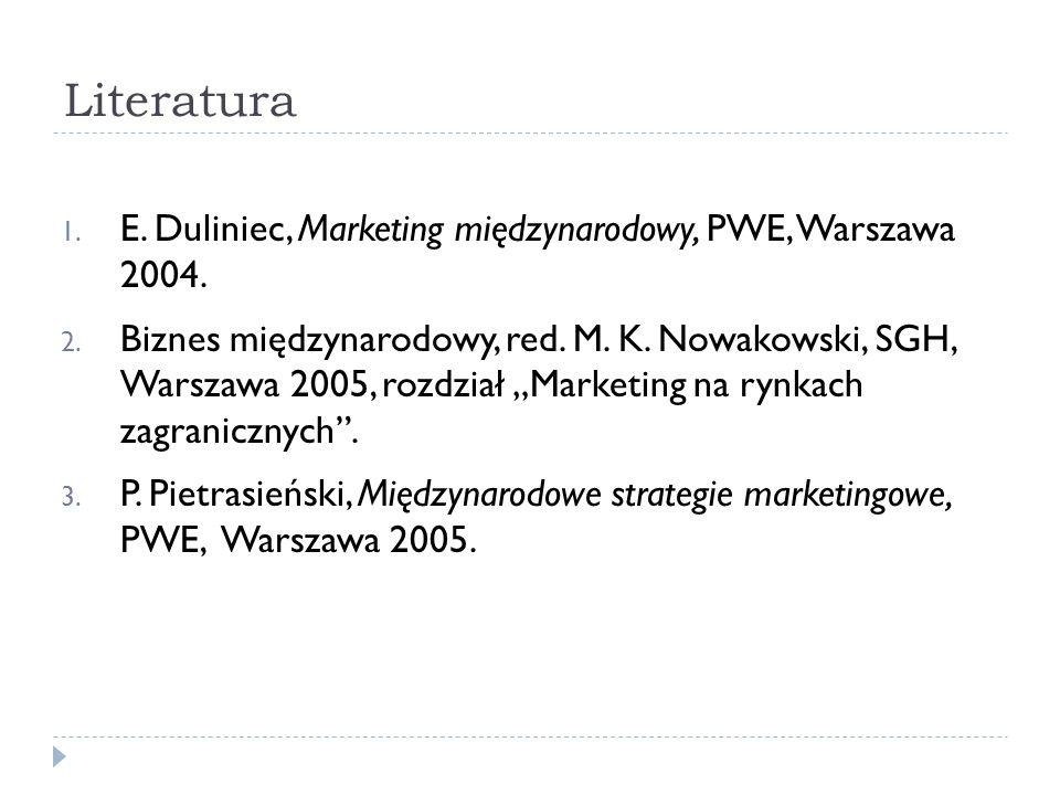 Literatura 1. E. Duliniec, Marketing międzynarodowy, PWE, Warszawa 2004.