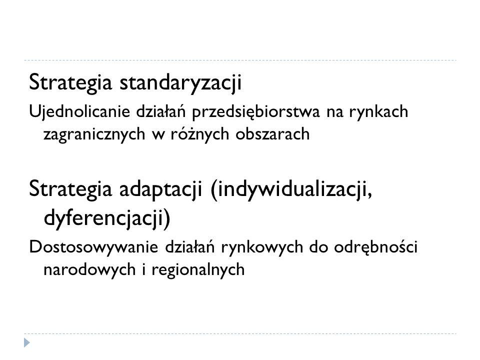 Strategia standaryzacji Ujednolicanie działań przedsiębiorstwa na rynkach zagranicznych w różnych obszarach Strategia adaptacji (indywidualizacji, dyferencjacji) Dostosowywanie działań rynkowych do odrębności narodowych i regionalnych