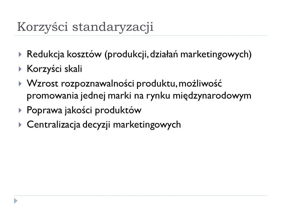 Korzyści standaryzacji  Redukcja kosztów (produkcji, działań marketingowych)  Korzyści skali  Wzrost rozpoznawalności produktu, możliwość promowania jednej marki na rynku międzynarodowym  Poprawa jakości produktów  Centralizacja decyzji marketingowych