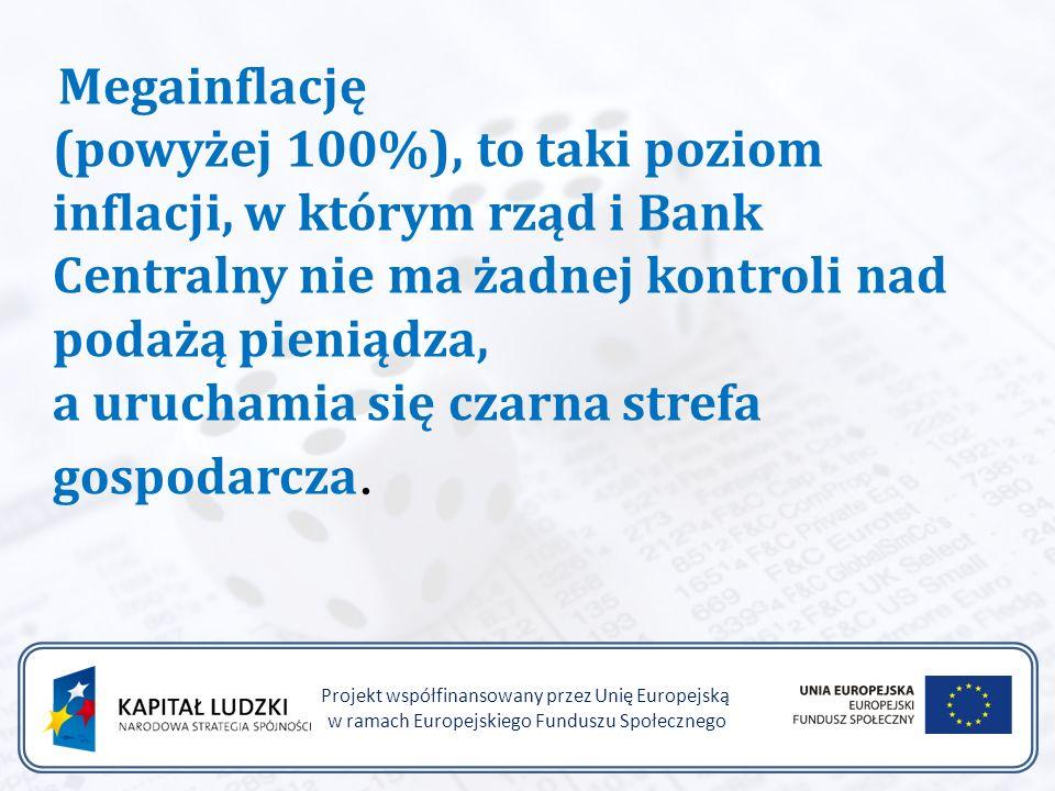 Projekt współfinansowany przez Unię Europejską w ramach Europejskiego Funduszu Społecznego Megainflację (powyżej 100%), to taki poziom inflacji, w którym rząd i Bank Centralny nie ma żadnej kontroli nad podażą pieniądza, a uruchamia się czarna strefa gospodarcza.