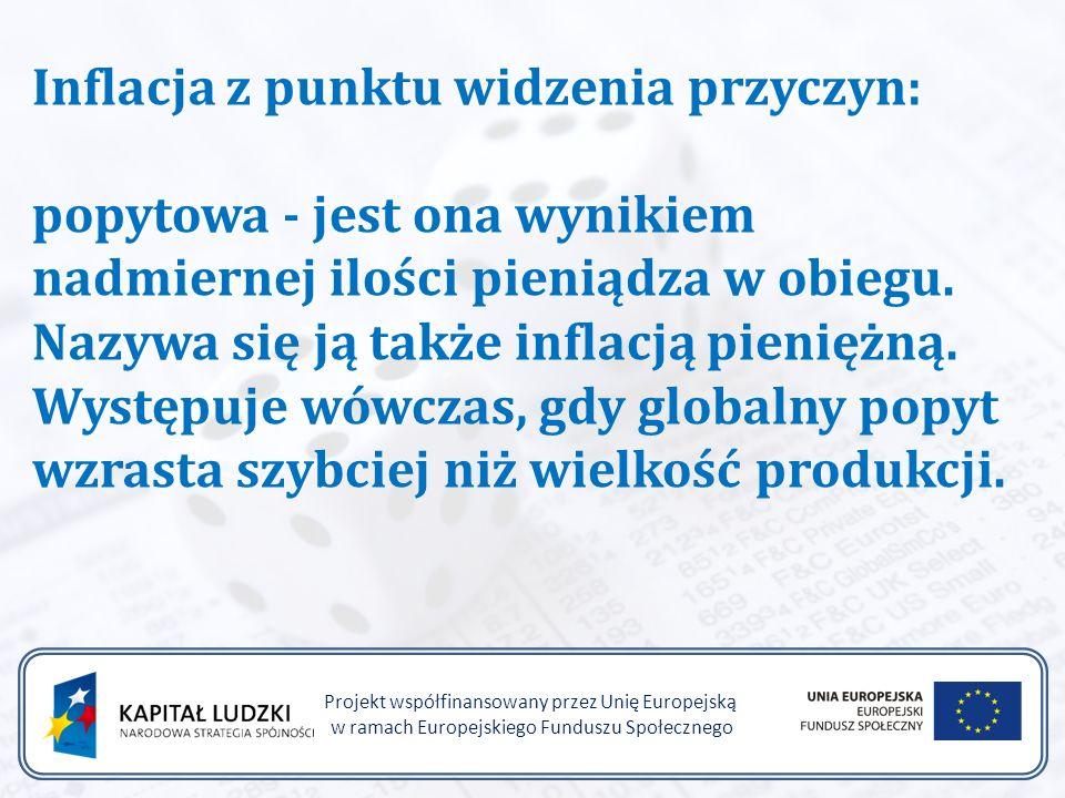 Projekt współfinansowany przez Unię Europejską w ramach Europejskiego Funduszu Społecznego Inflacja z punktu widzenia przyczyn: popytowa - jest ona wynikiem nadmiernej ilości pieniądza w obiegu.