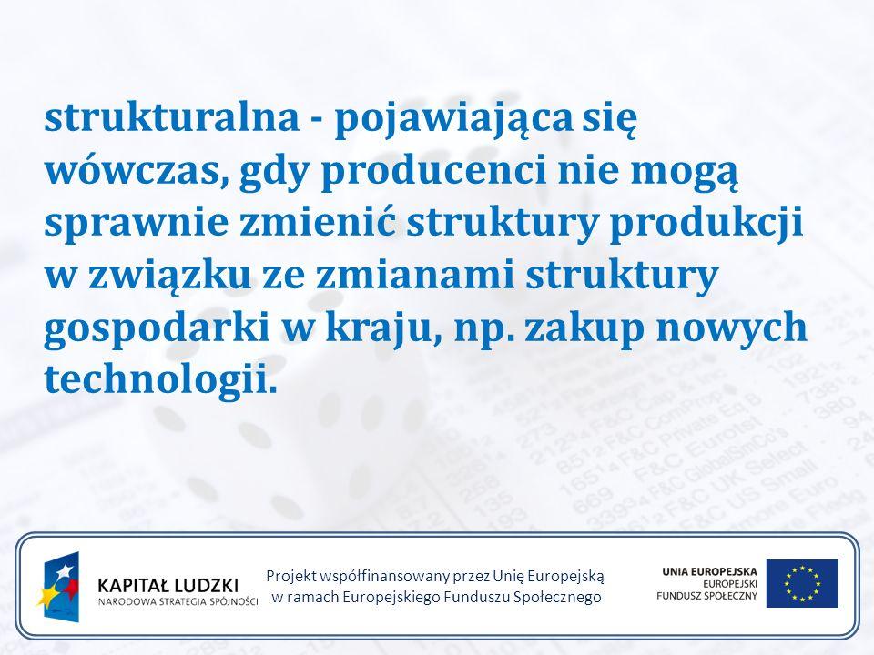 Projekt współfinansowany przez Unię Europejską w ramach Europejskiego Funduszu Społecznego strukturalna - pojawiająca się wówczas, gdy producenci nie mogą sprawnie zmienić struktury produkcji w związku ze zmianami struktury gospodarki w kraju, np.