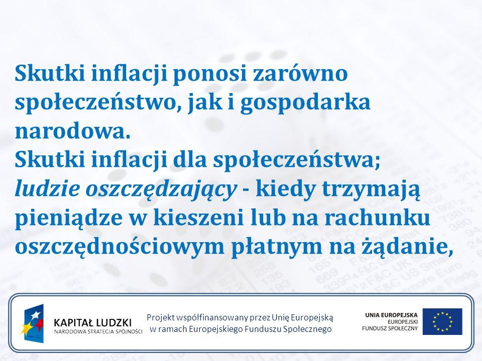 Projekt współfinansowany przez Unię Europejską w ramach Europejskiego Funduszu Społecznego Skutki inflacji ponosi zarówno społeczeństwo, jak i gospodarka narodowa.