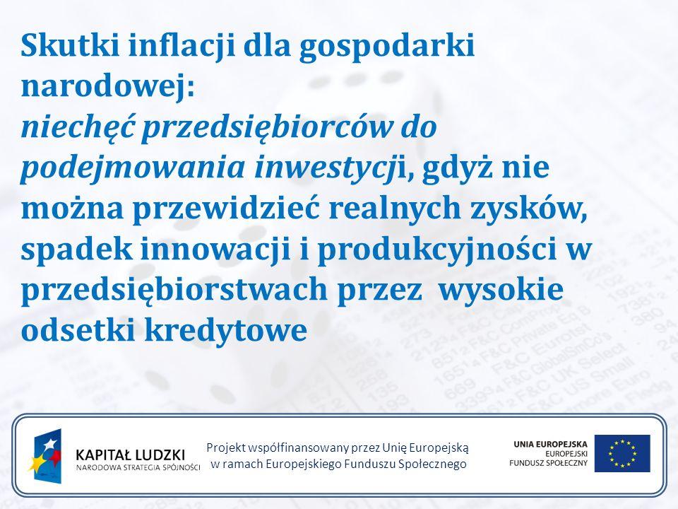 Projekt współfinansowany przez Unię Europejską w ramach Europejskiego Funduszu Społecznego Skutki inflacji dla gospodarki narodowej: niechęć przedsiębiorców do podejmowania inwestycji, gdyż nie można przewidzieć realnych zysków, spadek innowacji i produkcyjności w przedsiębiorstwach przez wysokie odsetki kredytowe