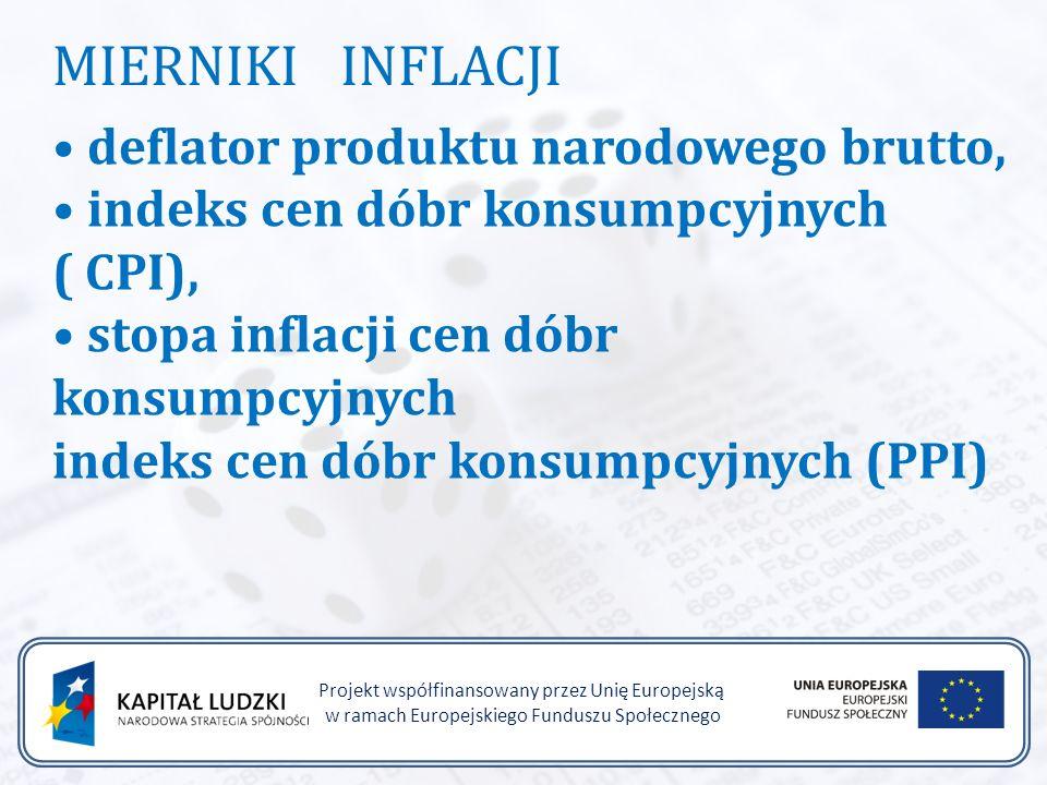 Projekt współfinansowany przez Unię Europejską w ramach Europejskiego Funduszu Społecznego MIERNIKI INFLACJI deflator produktu narodowego brutto, indeks cen dóbr konsumpcyjnych ( CPI), stopa inflacji cen dóbr konsumpcyjnych indeks cen dóbr konsumpcyjnych (PPI)